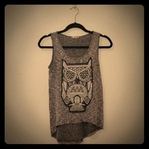 Woven Owl Hi/Low Tank Top Small